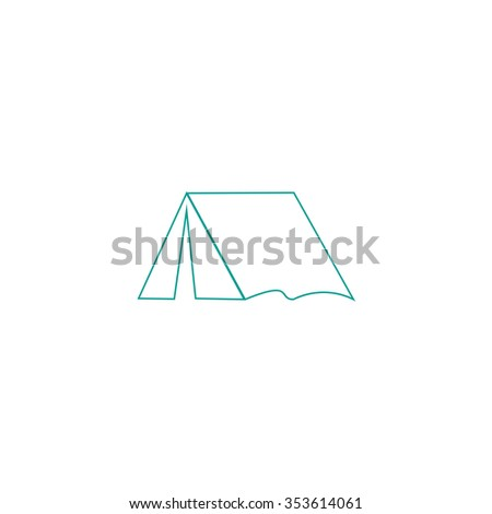 Tourist tent. Outline symbol on white background. Simple line icon