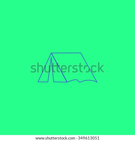 Tourist tent. Simple outline illustration icon on green background