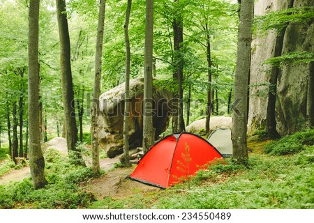 tourist tents in forest camp  - stock photo