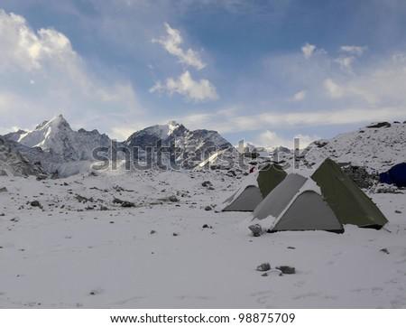 Tourist tents in the Gorak Shep lodge - Everest region, Nepal - stock photo