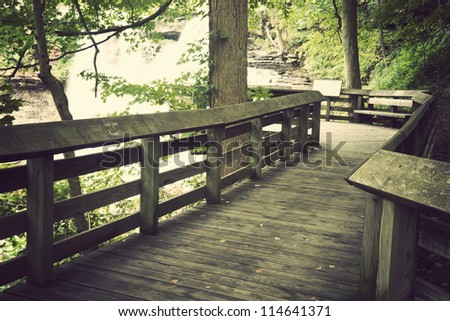 Tourist trail in Cuyahoga Valley National Park in Ohio. - stock photo