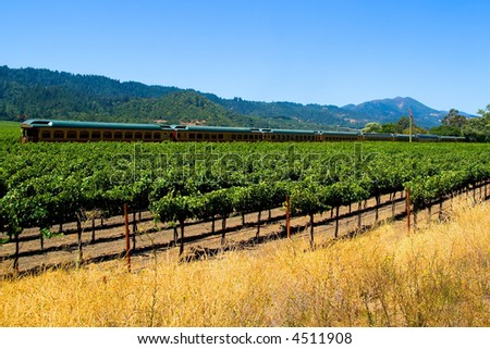 Tourist train in Napa Valley California - stock photo