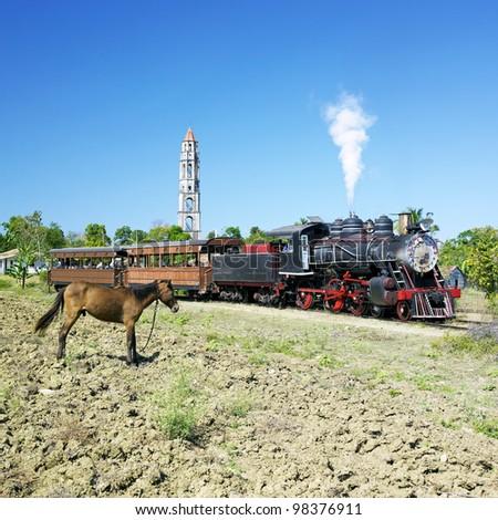 tourist train Valle de Los Ingenios, Manaca Iznaga, Sancti Spi�ritus Province, Cuba - stock photo