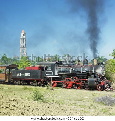 tourist train Valle de Los Ingenios, Manaca Iznaga, Sancti Spiritus Province, Cuba - stock photo