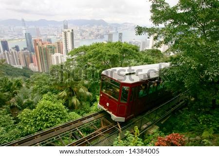 Tourist tram at the Peak, Hong Kong - stock photo