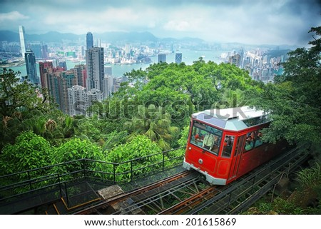 Tourist tram at the Peak, Hong Kong - stock photo