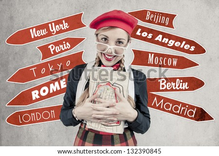 Tourist Vintage style - stock photo