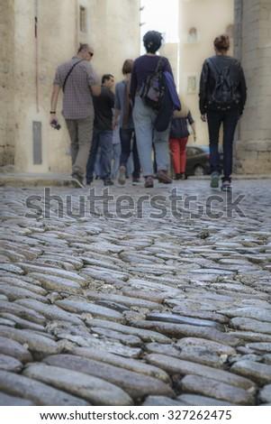 tourist walking - stock photo
