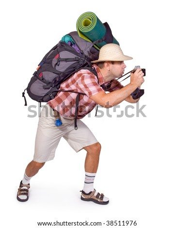 tourist with camera - stock photo