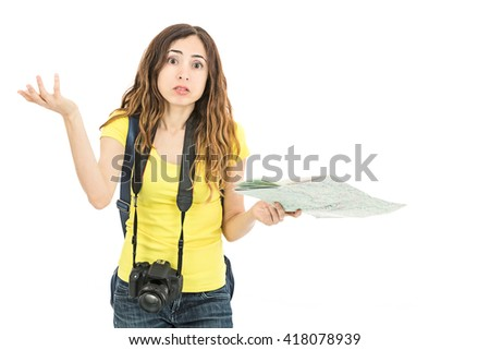 Tourist woman looking confused because of the map