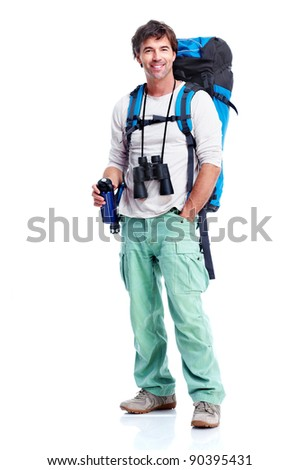 Tourist. Young man hiking. Isolated on white background.