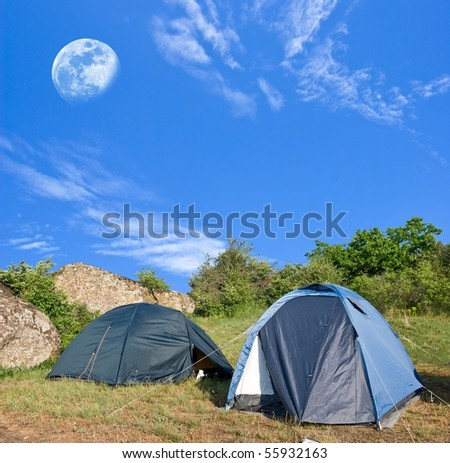 touristic camp at the morning - stock photo