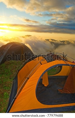 touristic camp at the sunset - stock photo