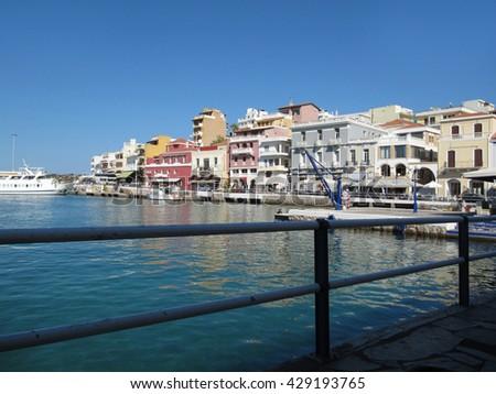 Touristic Destination Agios Nikolaos on Crete Island in Greece/Agios Nikolaos-One of the Most Highly Developed Tourist Towns in Greece, Crete  - stock photo