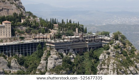 Touristic infrastructure in Montserrat near Barcelona, Spain, July 2016