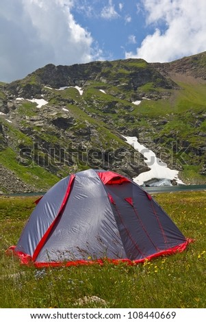 touristic tent in a mountains - stock photo