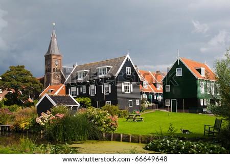 Touristic town of Marken, Holland - stock photo