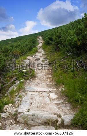 touristic trail in a mountains - stock photo