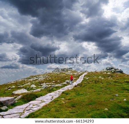 touristic way in a mountains - stock photo