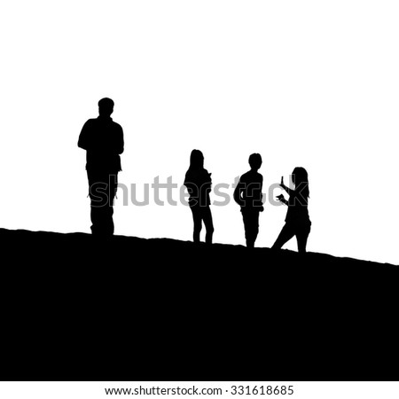 Tourists admire the setting Sun in dunes in the Atacama Desert at sunset - Oasis of Huacachina, Peru, South America (black and white) - stock photo