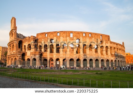 Tourists at Colosseum in Rome, Italy