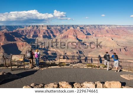 Tourists at Grand Canyon National Park, Arizona, USA - stock photo