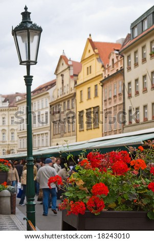 Tourists at the street market in Prague, Czech Republic - stock photo