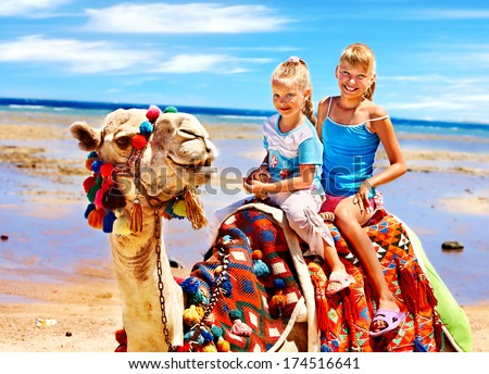 Tourists children riding camel  on the beach of  Egypt. Sharpness on a camel. - stock photo