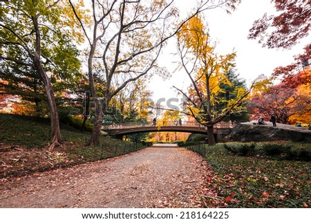Tourists cross the Pine Bank Bridge in Central Park on a crisp autumn day in New York City, USA - stock photo