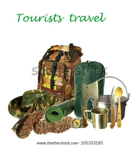 Tourists equipment. Backpacking bag, shoes, hat, pot, axe, compass, knife, spoon, mug, tent on white background. Your text. Necessary articles for tourism - stock photo