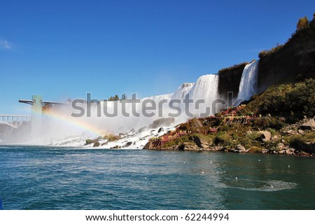 Tourists gather to get a closer view of the American side of Niagara Falls. - stock photo