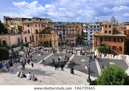 tourists in Spain square, Rome, Italy - stock photo