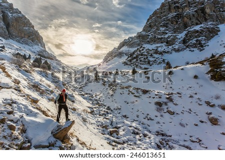 Tourists in the mountains - stock photo