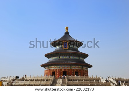 Tourists near the Temple of Heaven in Beijing