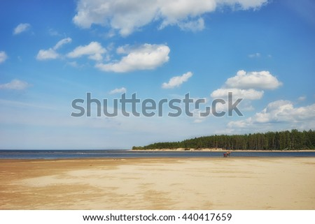 Tourists on bikes on a sandy beach in the river mouth of the Baltic Sea in a forest on a sunny day