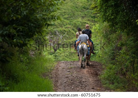 Tourists on horseback in Costa Rican cloud forest - stock photo