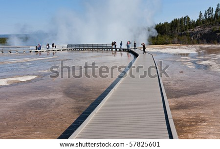 Tourists on the boardwalk at Midway Geyser Basin.