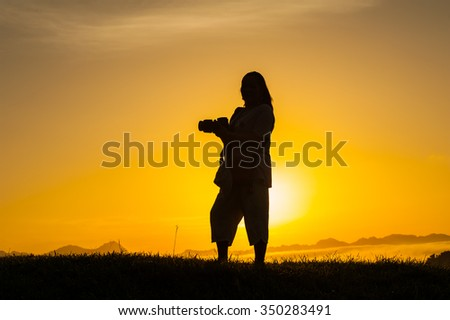Tourists Scenic morning mist happily.  - stock photo
