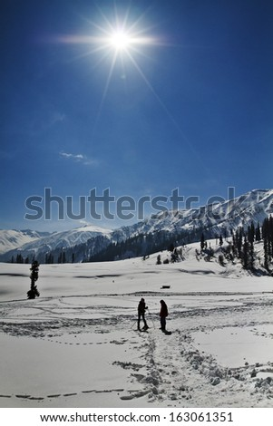 Tourists skiing on the snow covered landscape, Kashmir, Jammu And Kashmir, India