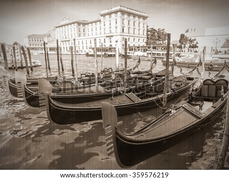 Tourists travel on gondolas at canal Venice, Italy . Gondola trip is the most popular touristic activity in Venice. Old style. Sepia - stock photo