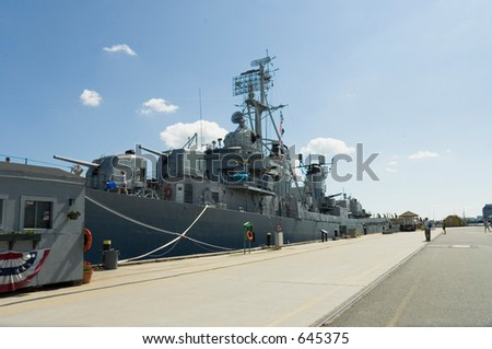 Tourists visiting the WWII Navy destroyer USS Cassin, Boston, Mass - stock photo