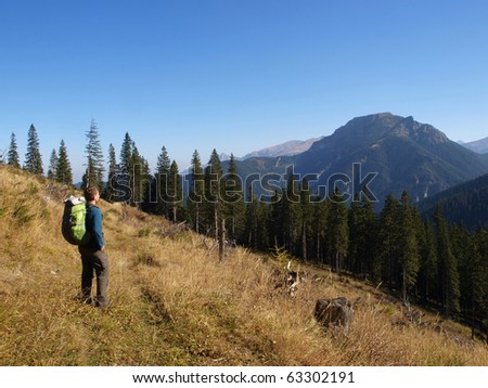 Tourists walking in the mountains - stock photo