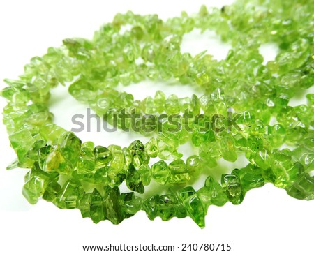 tourmaline gemstone beads isolated on white background