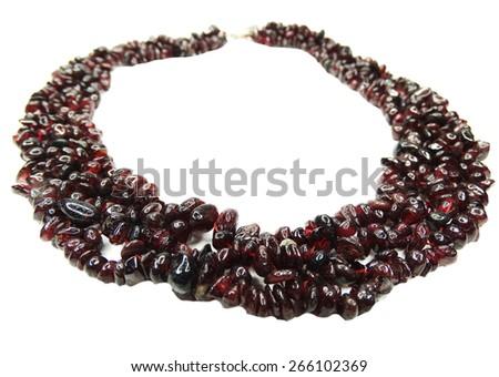 tourmaline gemstone beads isolated on white background - stock photo