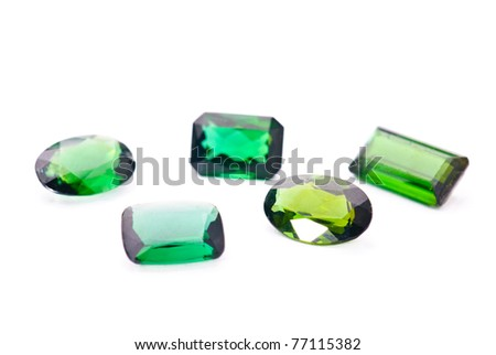 tourmaline jewel, precious gemstone isolated against a white background - stock photo