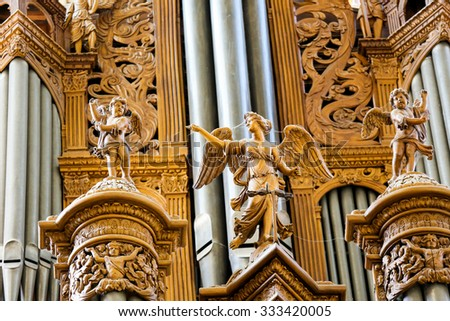 TOURS, FRANCE - AUGUST 14, 2014: Detail of the Organ in the Cathedral of Tours, France.