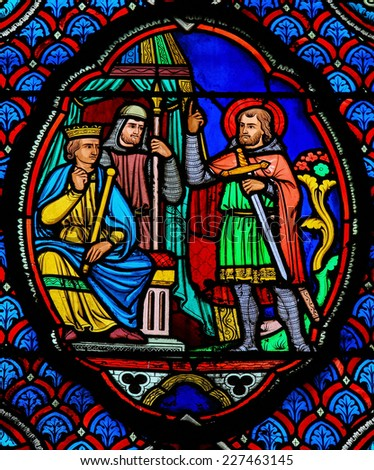 TOURS, FRANCE - AUGUST 8, 2014: Stained glass window in the Saint Gatien Cathedral of Tours, France.