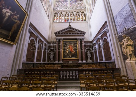 TOURS, FRANCE, JULY 07, 2015 : interiors and architectural details of Saint Gatien cathedral, on july 07, 2015, in Tours, Loire valley, France.