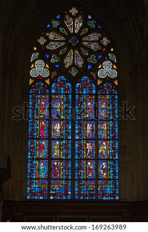 TOURS, FRANCE - JUNE 24, 2013: Stained glass windows of Saint Gatien cathedral in Tours, France.  - stock photo