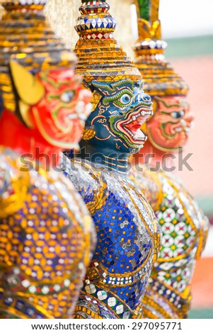 Tours on wat Phra Kaew standing together - stock photo